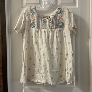 Legacy Falls White Printed Embroidered Blouse M